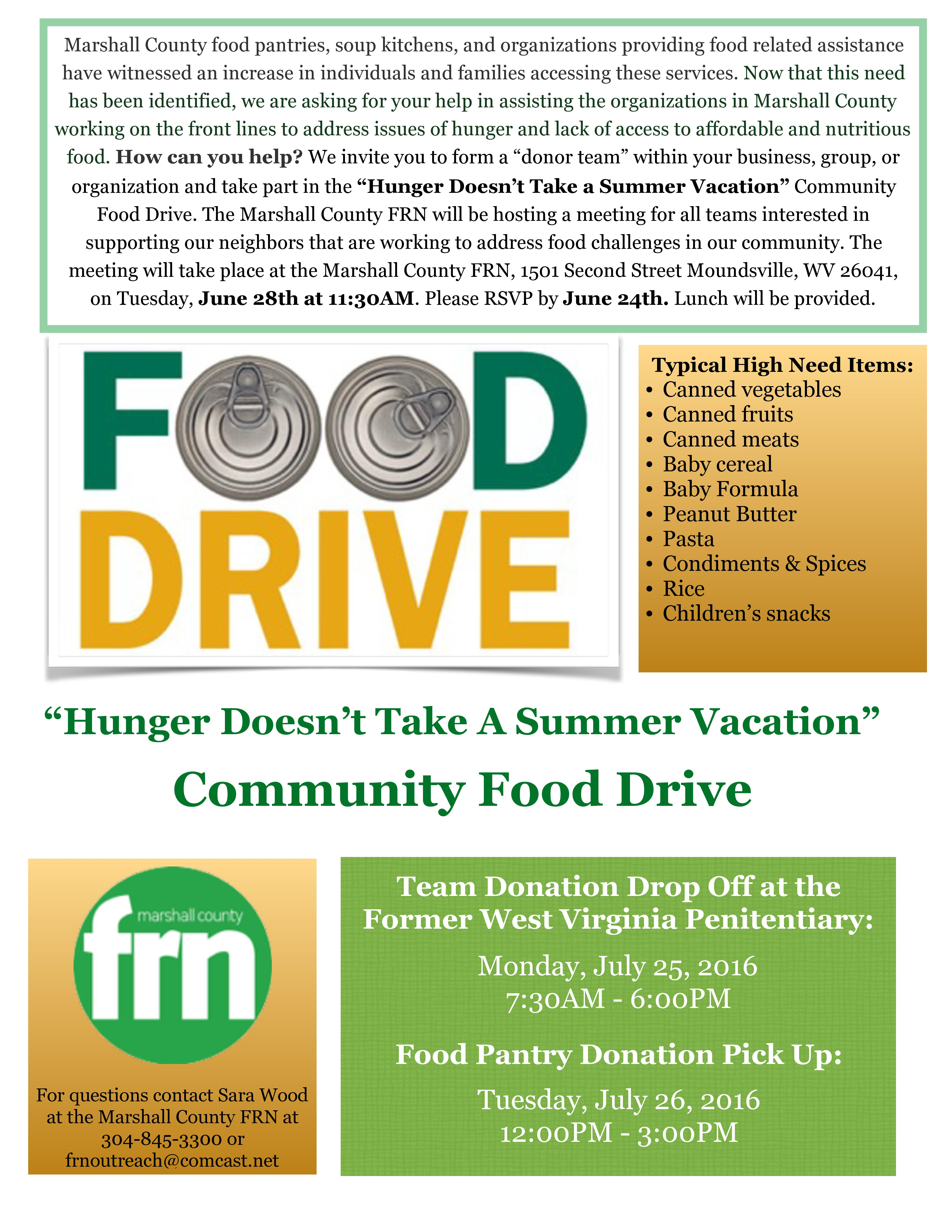 Marshall County FRN Organizing Community Food Drive | Marshall ...
